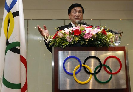 Wu Ching-kuo, an executive board member of the International Olympic Committee (IOC), speaks during a news conference in Taipei May 23, 2013