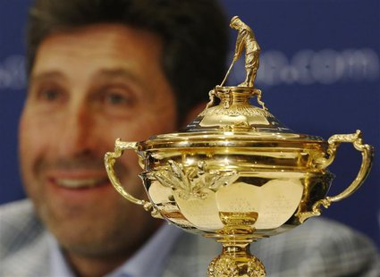 European Ryder Cup captain Jose Maria Olazabal smiles during a news conference in a hotel near Heathrow Airport, in west London October 2, 2