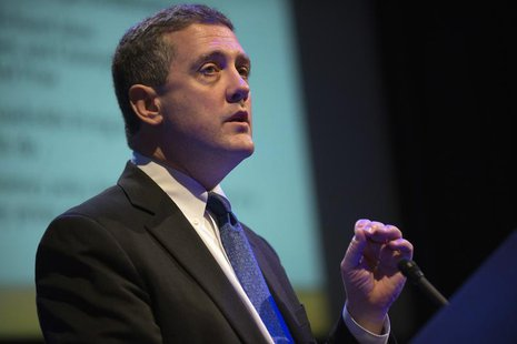 "The Federal Reserve Bank of St. Louis' President and CEO James Bullard speaks during the ""Hyman P. Minsky Conference on the State of the U.S"