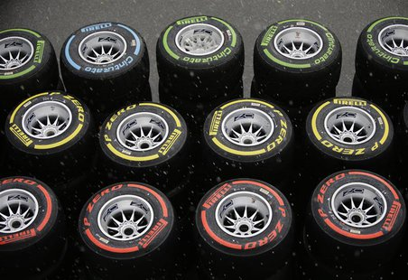 Pirelli tyres are seen in the paddock as it rains ahead of the first practice session of the Singapore F1 Grand Prix at the Marina Bay Stree