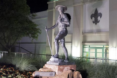 "A statue titled ""Trail to Manhood"" stands outside the National Scouting Museum in Irving, Texas in this picture taken May 22, 2013. REUTERS/"