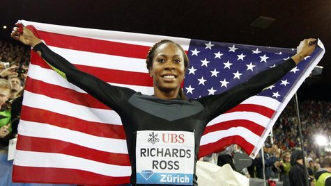 Sanya Richards-Ross of the U.S. celebrates as she won the women's 400m race during the Weltklasse Diamond League meeting in Zurich August 30
