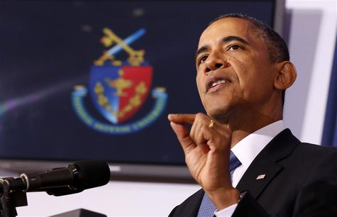 U.S. President Barack Obama makes a point about his administration's counter-terrorism policy at the National Defense University at Fort McN