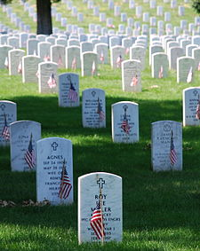Graves at Arlington National Cemetery are decorated with flags for Memorial Day.