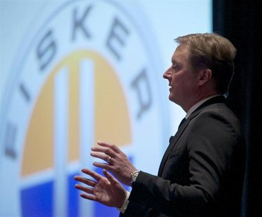 Henrik Fisker, co-founder, executive chairman, and chief designer at Fisker Automotive speaks during the Chicago Auto Show, February 7, 2013