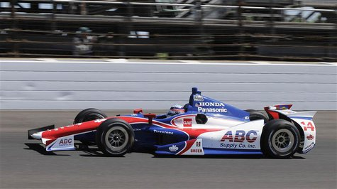 A.J. Foyt Enterprises driver Takuma Sato of Japan drives his race car on the track during the final practice session for the Indianapolis 50
