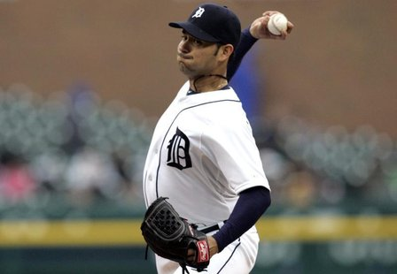 Detroit Tigers starting pitcher Anibal Sanchez throws to the Toronto Blue Jays during the first inning of their MLB American League baseball