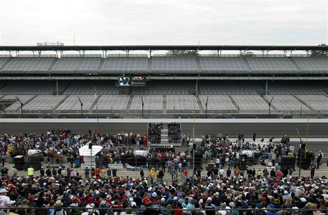 A general view of the drivers meeting for the Indianapolis 500 at the Indianapolis Motor Speedway in Indianapolis, Indiana May 25, 2013. REU