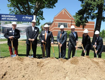 Hope College officials pose for the ceremonial ground breaking of the Kruizenga Art Museum construction on May 24, 2013. (photo courtesy Hope College)