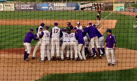 UW Stevens Point Baseball after game one win Friday at College World Series in Appleton.  Photo from Nick Brilowski via Twitter.
