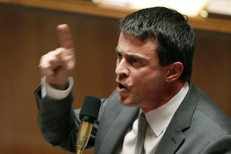 French Interior Minister Manuel Valls speaks during the questions to the government session at the National Assembly in Paris April 23, 2013