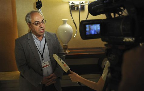 Abdulbaset Sieda, former chairman of Syrian National Council (SNC), speaks during an interview with Reuters TV in Istanbul May 26, 2013. REU