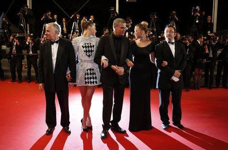 Producer Brahim Chioua, cast member Adele Exarchopoulos, director Abdellatif Kechiche, cast member Lea Seydoux and producer Vincent Maraval