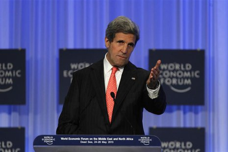 Secretary of State John Kerry speaks during the World Economic Forum on the Middle East and North Africa at the King Hussein Convention Cent