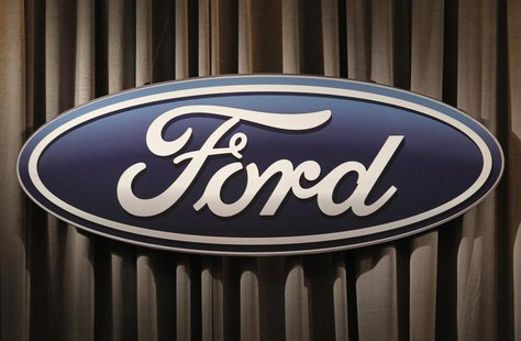 The Ford Motor Company logo is shown during the firm's annual meeting of shareholders in Wilmington, Delaware May 12, 2011. REUTERS/Tim Shaf