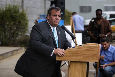 New Jersey Governor Chris Christie speaks at a groundbreaking ceremony for the Technology Enhanced Accelerated Learning Center news conferen