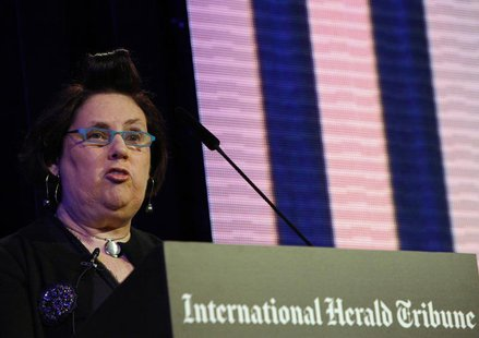 "The Fashion Editor of the International Herald Tribune Suzy Menkes opens the IHT ""Techno Luxury"" conference in Berlin November 17, 2009. REU"