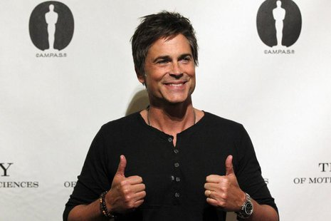 "Cast member Rob Lowe poses before a screening and panel discussion for the reunion of the cast of the 1992 movie ""Wayne's World"" at the Acad"
