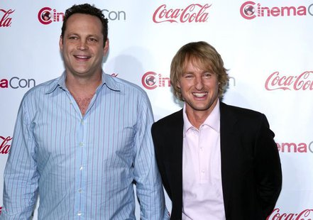 Actors Vince Vaughn (L) and Owen Wilson, recipients of the Comedy Duo of the Year Award, arrive at the CinemaCon awards ceremony at Caesars