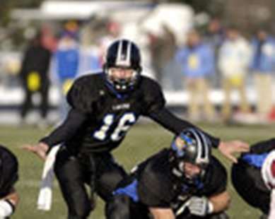 Cullen Finnerty in action as a GVSU QB (photo courtesy Grand Valley State University)