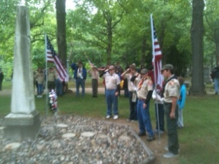 Boy Scout Troop 433 places wreath at Coldwater's Oak Grove Cemetery for Memorial Day, May 27, 2013
