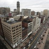 A view of downtown Detroit is seen looking north along Woodward Avenue in Detroit, Michigan January 30, 2013. REUTERS/Rebecca Cook