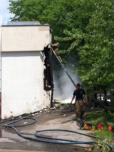 Green Bay Metro Fire Crews on scene of fire at Los Magueyes Restaurant in Allouez on May 29, 2013. (photo by Reporter Terry Lee)