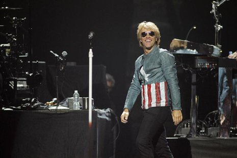 Singer Jon Bon Jovi performs with his band Bon Jovi during the 2012 iHeart Radio Music Festival at the MGM Grand Garden Arena in Las Vegas,