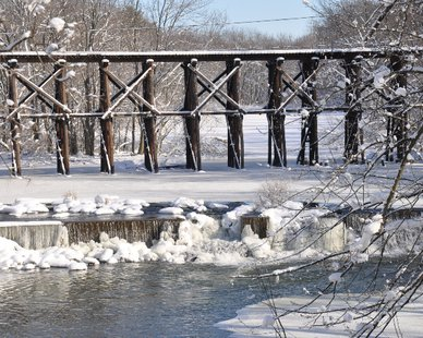 2013 Allegan County Winter Photo Contest Adult Division winner Elsie Jones' submission of the trestle bridge over the Rabbit River in Hamilton. (photo courtesy Allegan County Tourist Council)