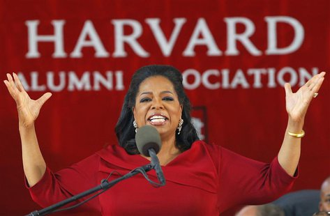 Media mogul Oprah Winfrey delivers the commencement address during Harvard University's 362nd Commencement Exercises in Cambridge, Massachus