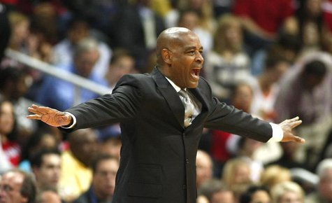 Atlanta Hawks head coach Larry Drew makes a call in the first half of their first-round Eastern Conference playoff NBA basketball game again