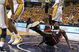 LeBron James flopping a foul in Game 4 of the Eastern Conference Finals.