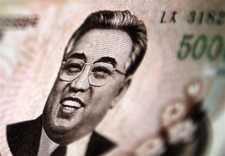 north korean leader kim il sung is seen on this 5000 north korea won