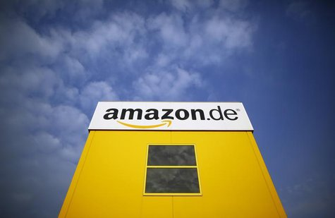 The logo of Amazon is pictured on a warehouse in Bad Hersfeld May 14, 2013. Employees of Amazon took part in a strike by German united servi