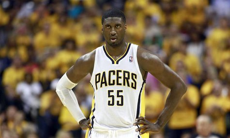 Indiana Pacers' Roy Hibbert looks down court during Game 6 of their NBA Eastern Conference Final basketball playoff series against the Miami