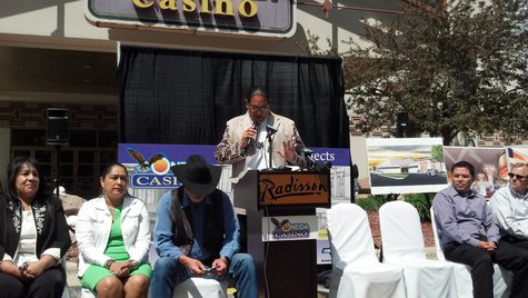 Oneida Tribal officials hold groundbreaking ceremony to announce casino expansion project on June 3, 2013. (photo by reporter Jeff Flynt).