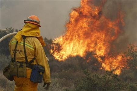 A firefighter monitors flames from a wildfire near Lake Hughes, California June 2, 2013.  REUTERS/Jonathan Alcorn