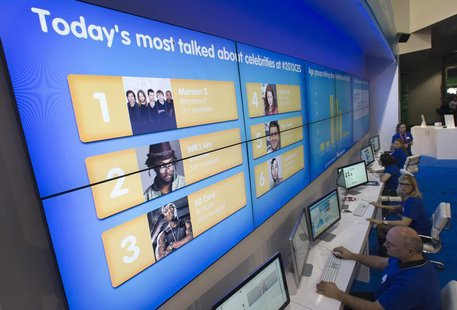 The Social Media Command Center software, powered by the Salesforce Marketing Cloud, monitors and displays social media traffic during the f