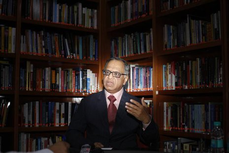 N.R. Narayana Murthy, Chairman Emeritus of Infosys, speaks during an interview with Reuters in Bangalore in this February 28, 2012 file pict