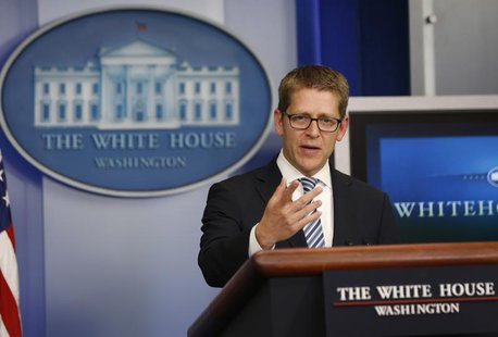 White House press secretary Jay Carney speaks to the press during the daily briefing at the White House in Washington, May 20, 2013. REUTERS