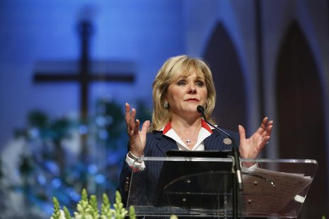Oklahoma Governor Mary Fallin speaks at the First Baptist Church of Moore community memorial service following the large tornado in Moore, O