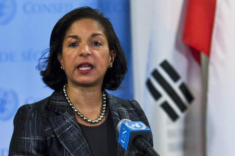 U.S. Ambassador to the United Nations Susan Rice speaks to the media at the U.N. headquarters in New York February 12, 2013. REUTERS/Eduardo