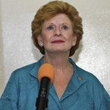 U.S. Senator Debbie Stabenow (D-MI) speaks during a news conference at the Toussaint Louverture Airport in Port-au-Prince February 21, 2013.