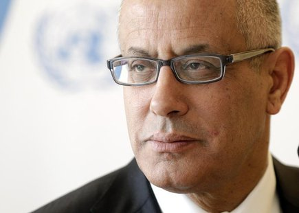 Ali Zeidan, Prime Minister of Libya pauses after his address to the 22nd session of the Human Rights Council at the United Nations in Geneva