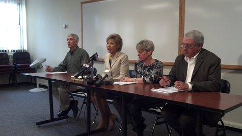 Green Bay Area Public School District leaders hold a press conference to talk about the approval of the private school voucher program expansion on June 5, 2013. (photo taken by reporter Jeff Flynt).