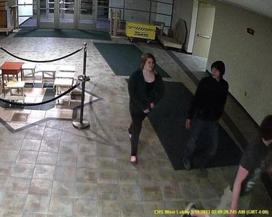 Surveillance video images taken of three suspects in a May 15 break-in at Coopersville High School (photo courtesy Ottawa Co. Sheriff's Dept.)