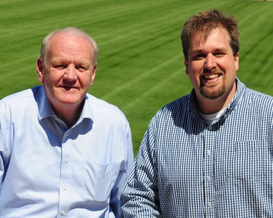 Hope College Associate Vice President for Public and Community Relations Tom Renner (L) and incoming Hope Sports Information Director Alan Babbitt (R) (photo courtesy Hope College)