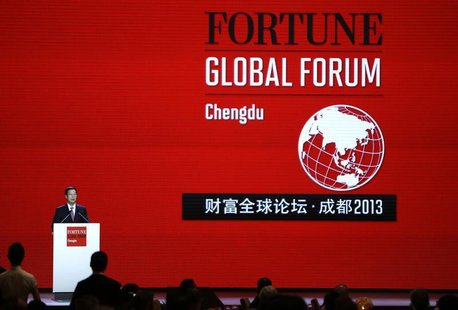 China's Vice Premier Zhang Gaoli delivers a speech during the gala dinner for the Fortune Global Forum (FGF) in Chengdu, Sichuan province, J
