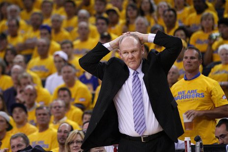 Denver Nuggets head coach George Karl reacts during Game 4 of the NBA Western Division quarter-final basketball playoff game against the Gol