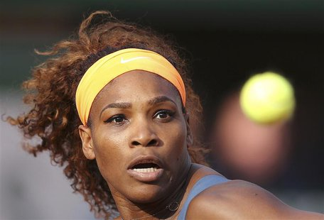 Serena Williams of the U.S. eyes the ball during her women's singles semi-final match against Sara Errani of Italy at the French Open tennis
